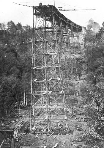 Deepdale Viaduct under construction in 1858